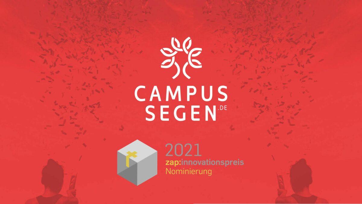 HURRA! CampusSegen ist für den zap:innovationspreis 2021 nominiert!